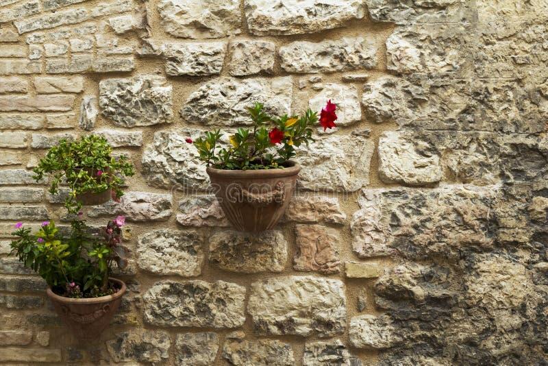 Décoration de mur dans une ville de Toscane images libres de droits
