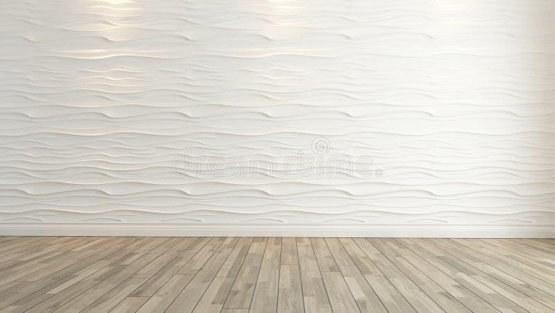 Décoration de mur de vague avec le rendu en bois de plancher illustration stock