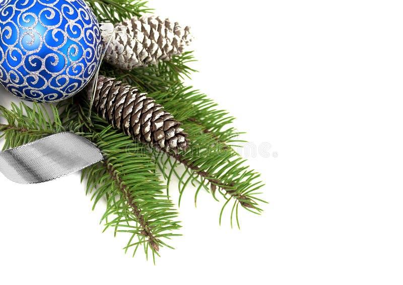 Décoration de Noël au-dessus de blanc image stock