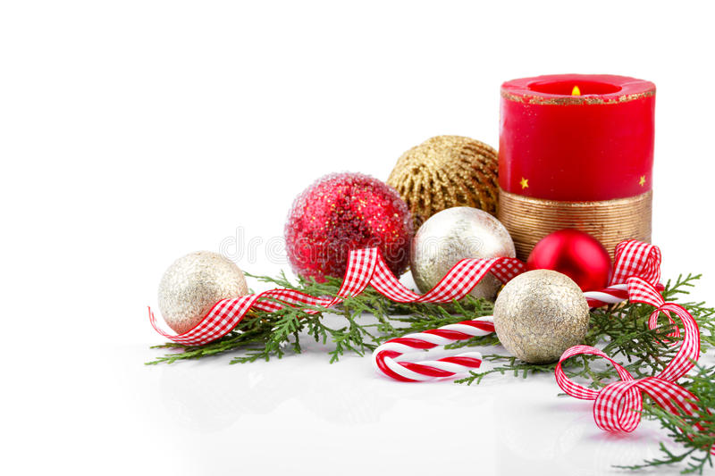 Download Décoration De Noël Avec La Bougie Photo stock - Image du rouge, branchement: 77155992