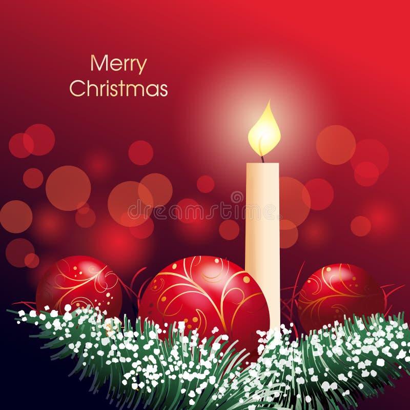 Décoration de Noël avec la bougie et la babiole illustration stock