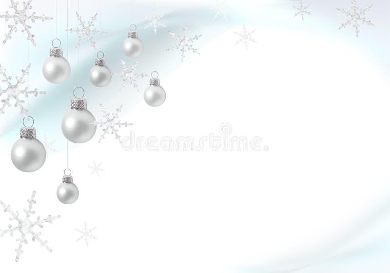 Décoration de Noël avec les babioles argentées illustration stock