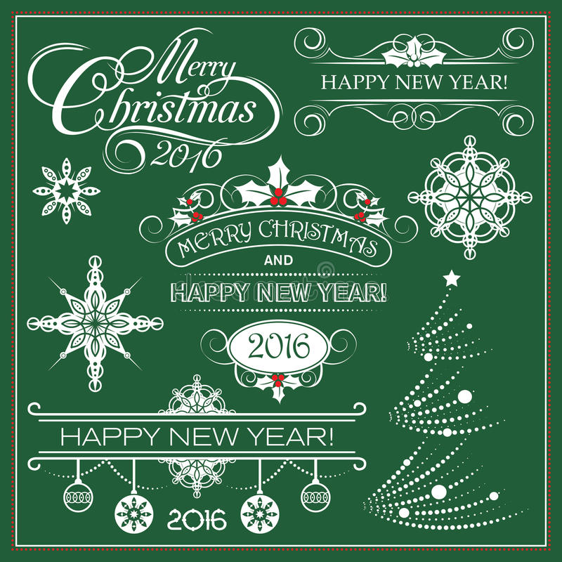 Décoration de Noël courant de vecteur et de nouvelle année photos stock