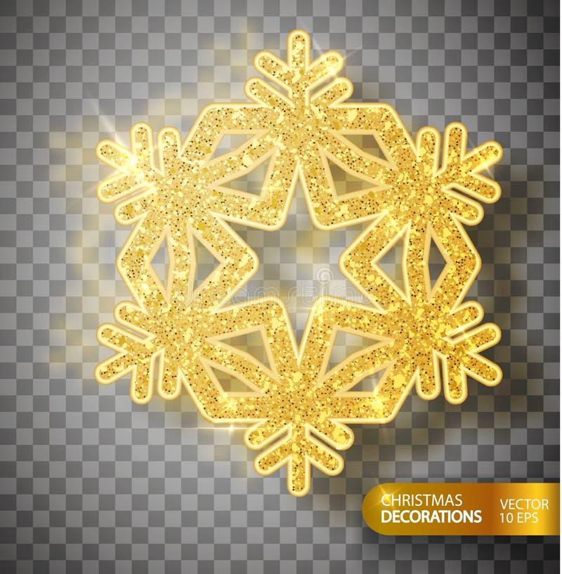 Décoration de Noël Flocon de neige d'or sur un fond transparent illustration de vecteur