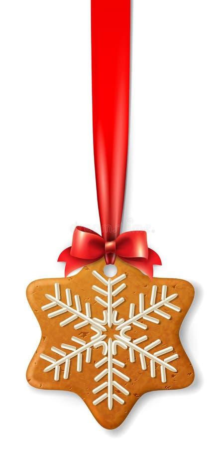Décoration de Noël -- flocon de neige de pain d'épice de vecteur, décoré du glaçage coloré, sur un ruban rouge avec un arc illustration libre de droits