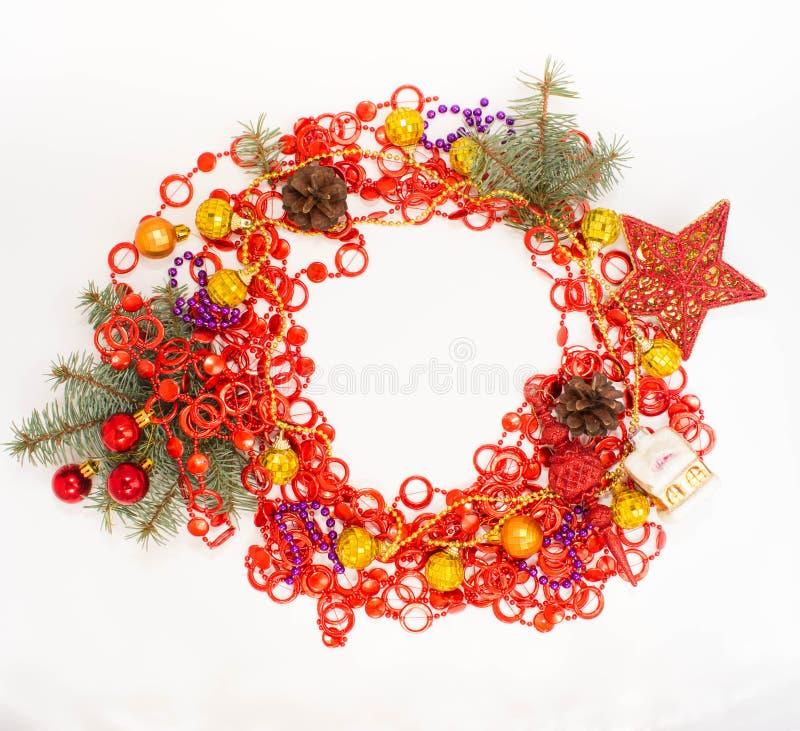 Décoration de Noël lumière de vacances de guirlande de décorations colorée par ampoules de fond allumée photos stock