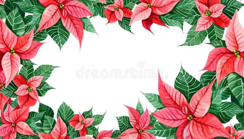 Décoration de Noël de poinsettia Encadrez la carte de décoration, Web de couverture, copie de cadre Élément de conception de célé illustration de vecteur