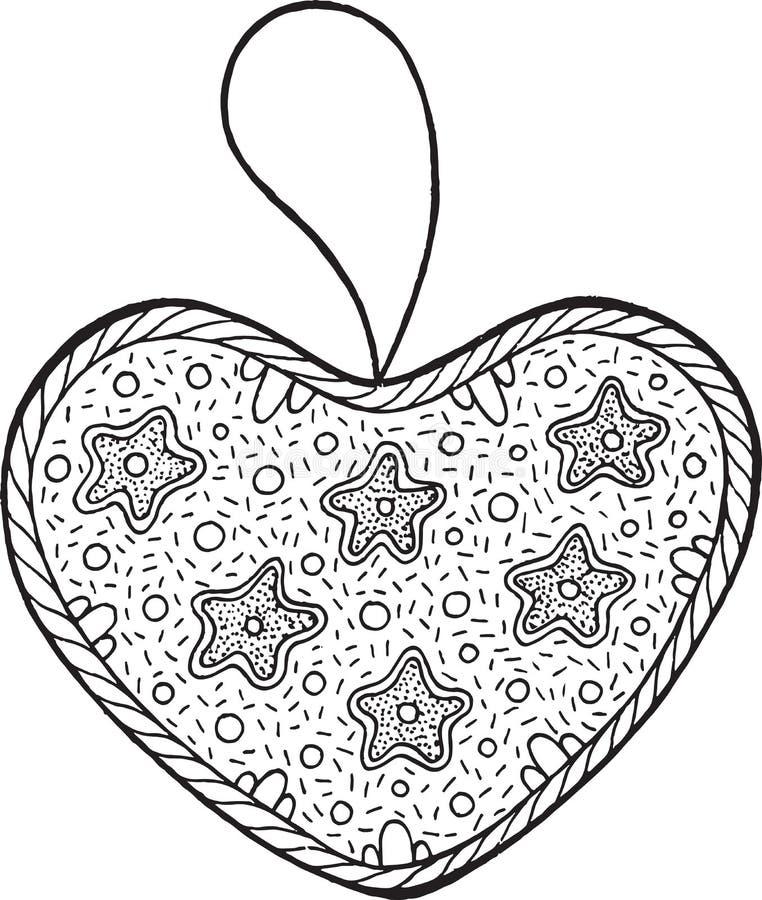 Décoration de Noël pour l'arbre de Noël - coeur griffonnage illustration libre de droits
