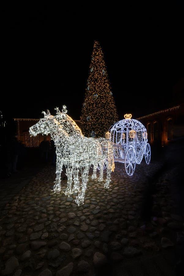 Décoration de Noël de scène de nuit de chariot de Cendrillon de conte de fées images stock