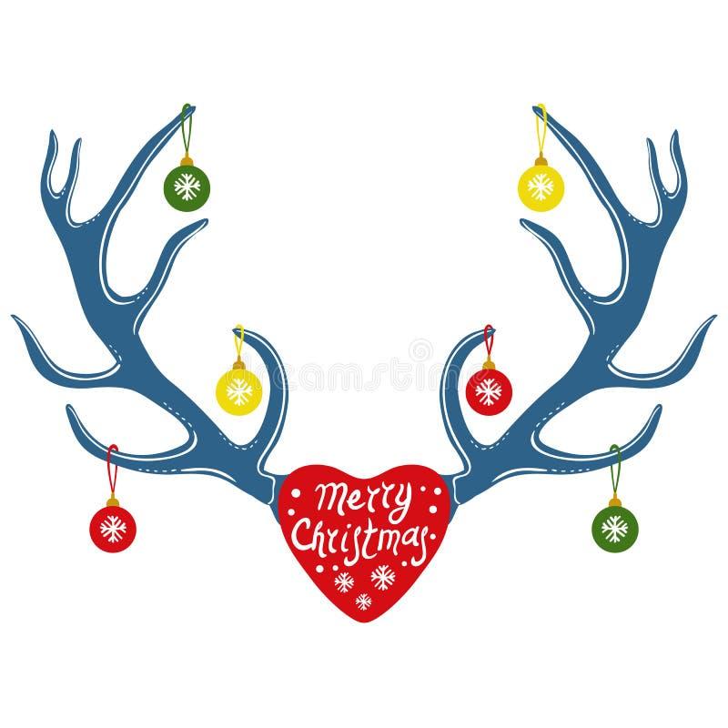 Décoration de Noël sur des klaxons de renne, illustration de vecteur illustration de vecteur