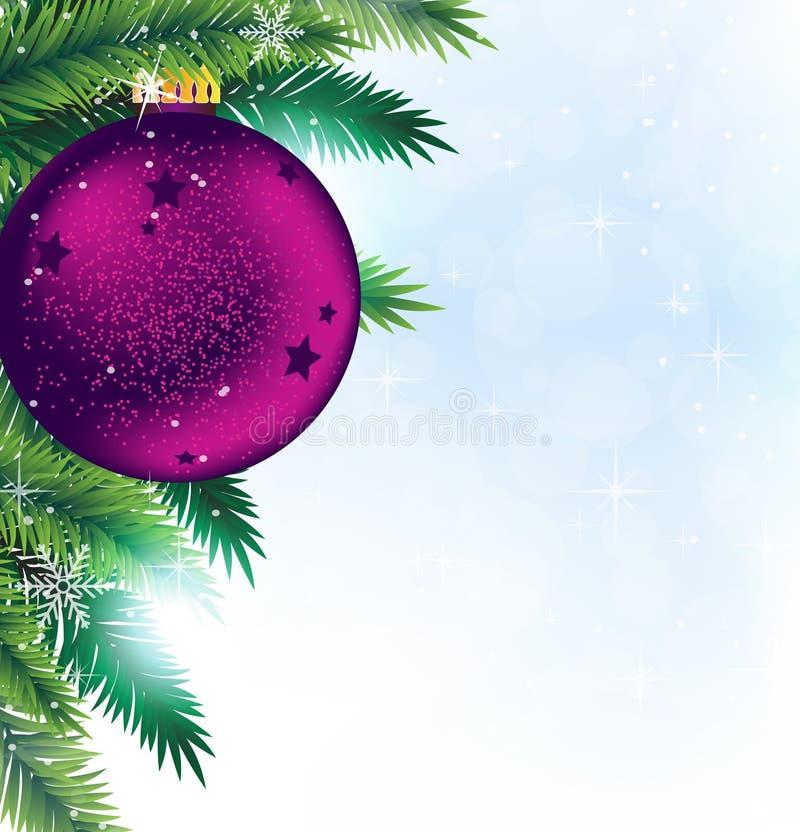 Décoration de Noël sur le fond de pétillement bleu illustration de vecteur
