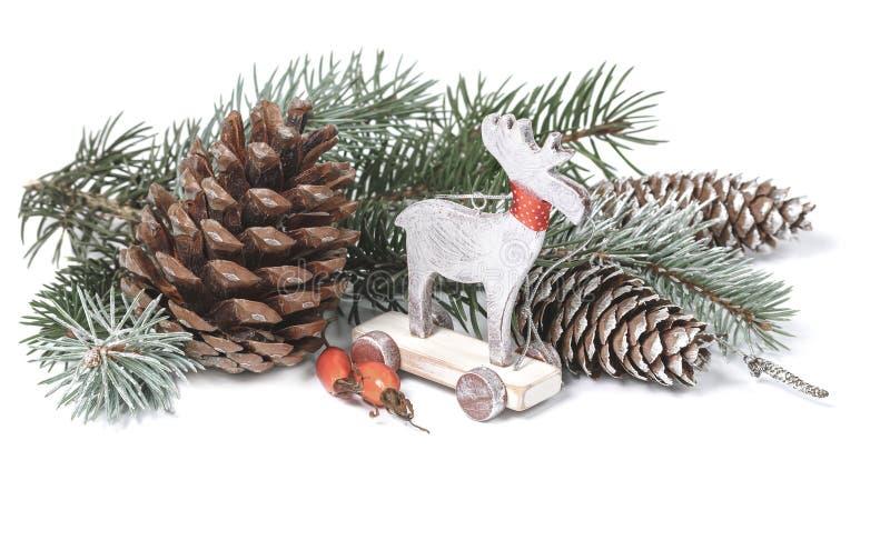 Décoration de Noël de vintage pour le fond Type scandinave images stock