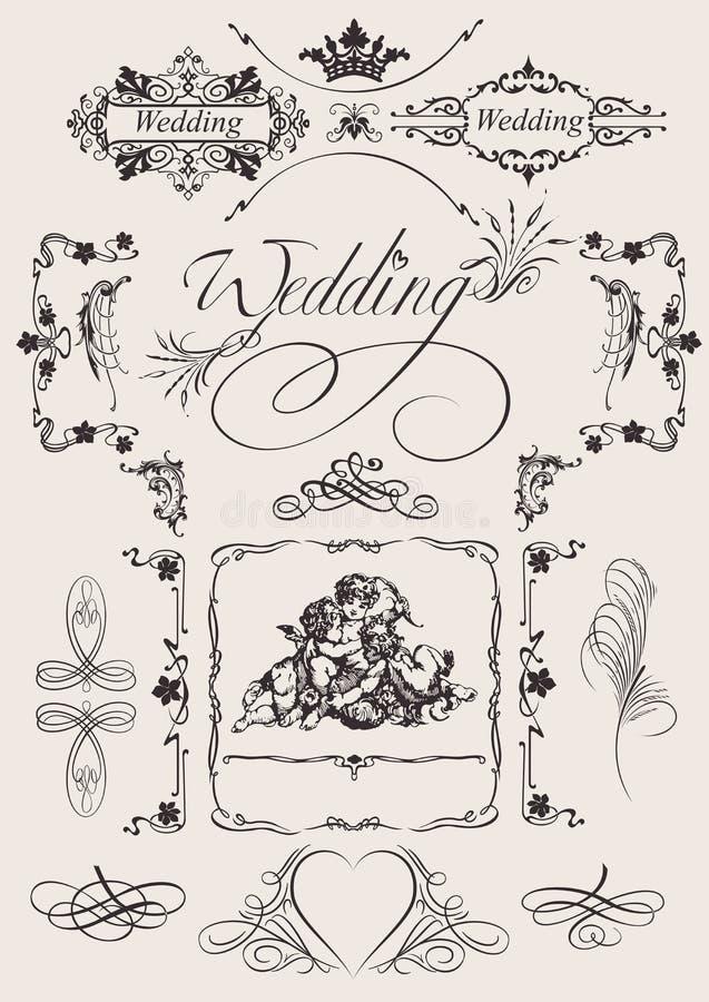 Décoration de page de mariage de conception. illustration libre de droits