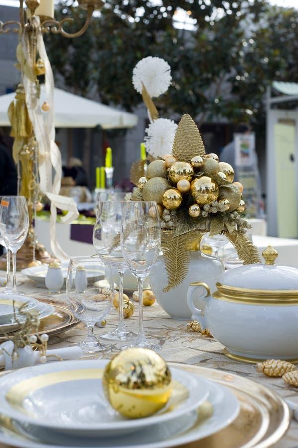 Décoration de table de Noël images stock