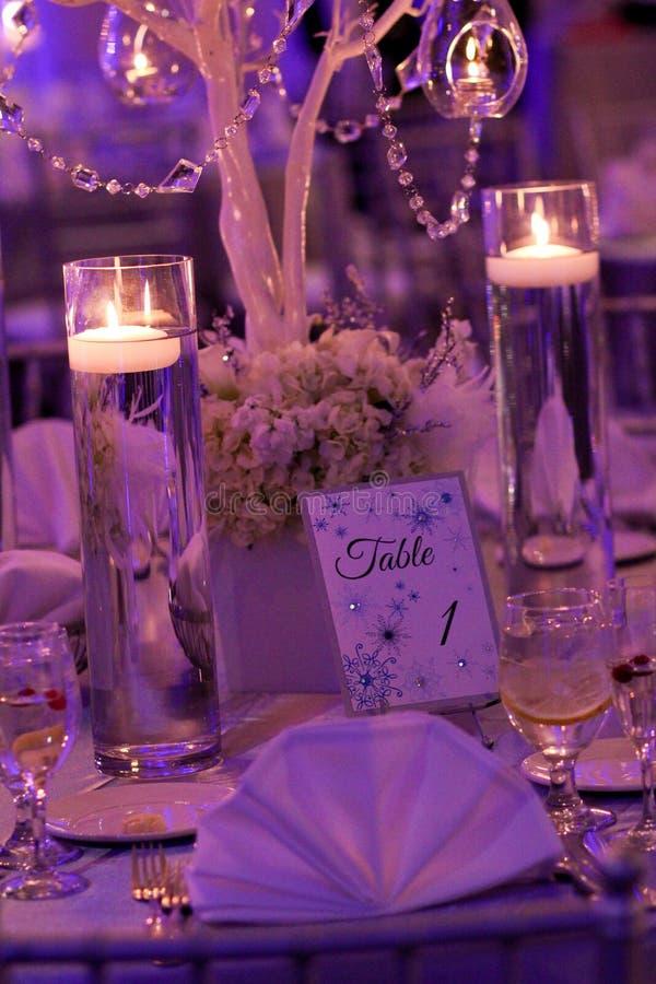 Décoration de Tableau pour un mariage d'hiver photos stock