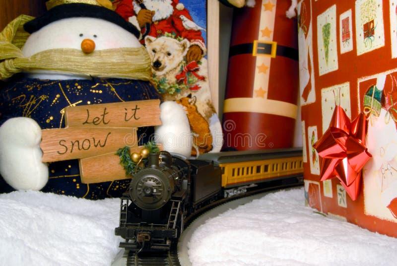 d coration de train lectrique et de no l image stock image du neige envelopp 6200399. Black Bedroom Furniture Sets. Home Design Ideas