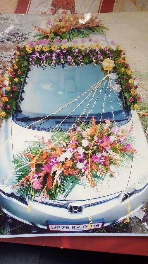 Décoration de véhicule de mariage images libres de droits