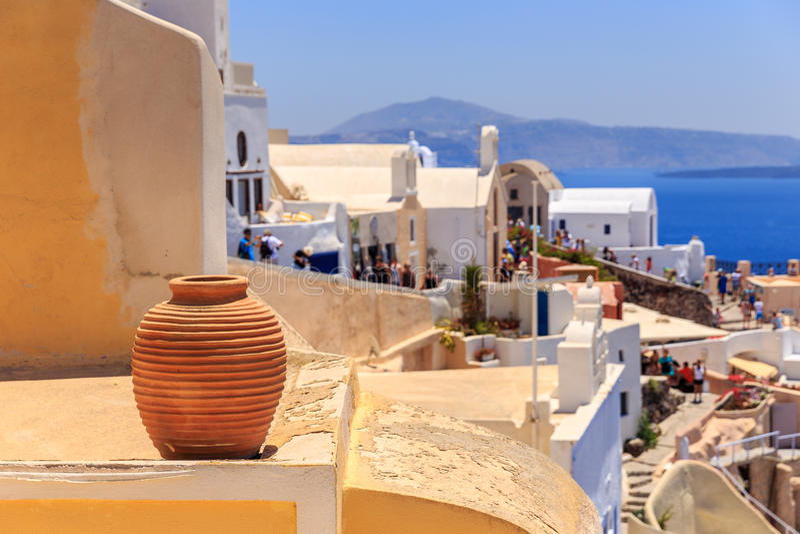 Décoration de vase à Santorini photo stock