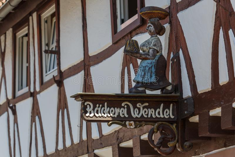 Décoration des façades à colombage dans la vieille ville de Limbourg, Allemagne photos stock