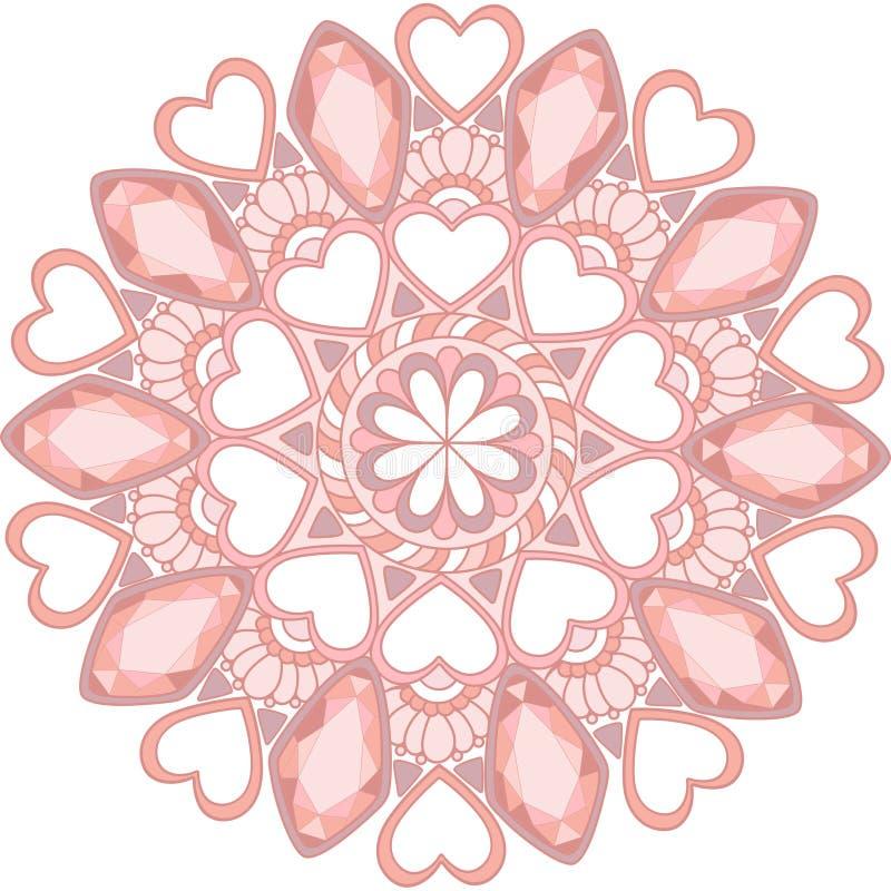 décoration douce de mandala de gemmes pour la conception web photo libre de droits