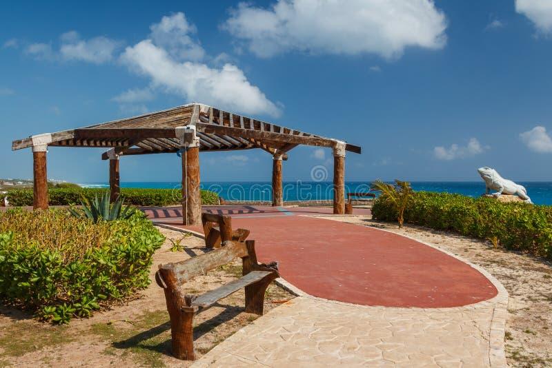 Décoration du parc sur l'île d'Isla Mujeres près de Cancun images libres de droits