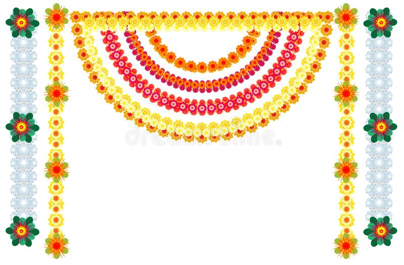 Décoration indienne traditionnelle de guirlandes de fleur pour des vacances illustration stock