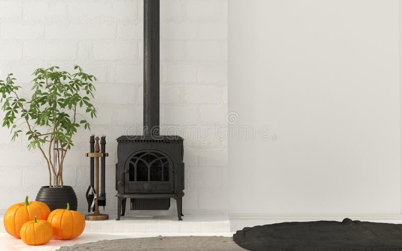 Décoration intérieure pour Halloween avec la cheminée de vintage illustration stock