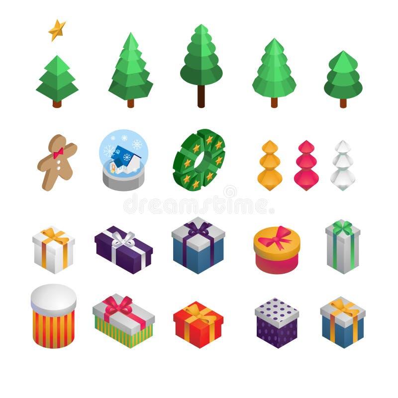 Décoration isométrique de Noël et de nouvelle année : Arbre de Noël, décoration, cadeaux, biscuit, guirlande de Noël illustration illustration de vecteur