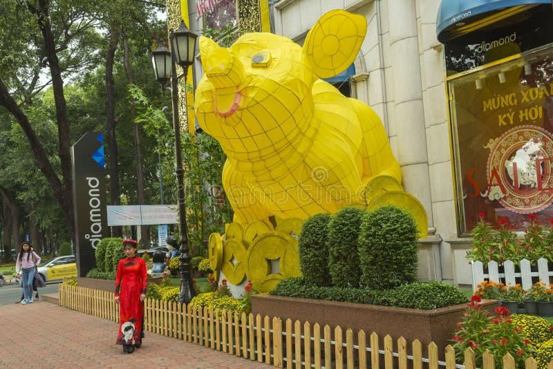Décoration lunaire de nouvelle année en Ho Chi Minh au Vietnam images libres de droits