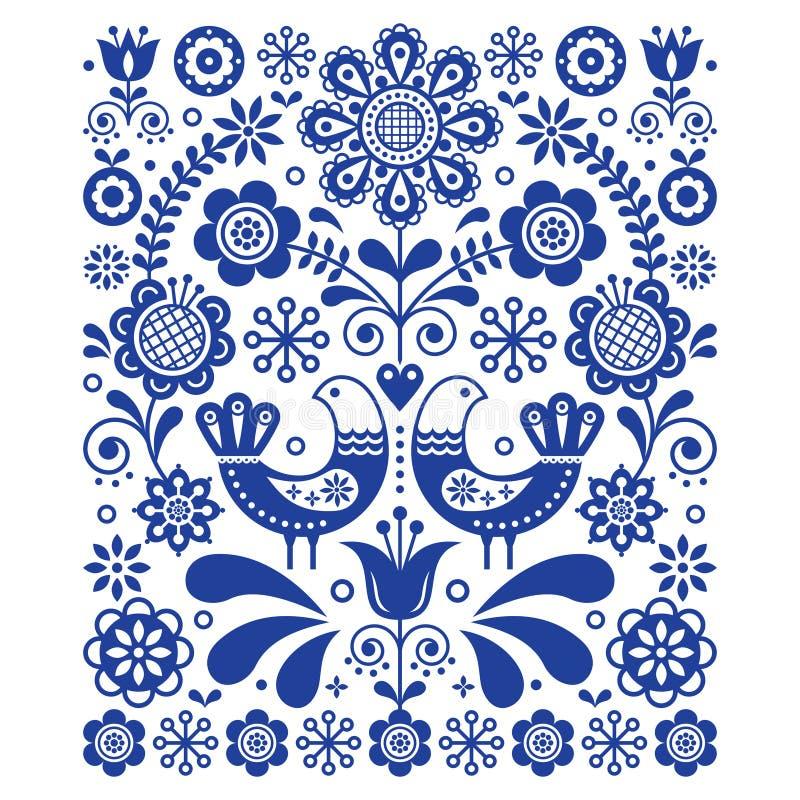 Décoration mignonne scandinave de vecteur d'art populaire avec des oiseaux et des fleurs, modèle floral scandinave de bleu marine illustration libre de droits