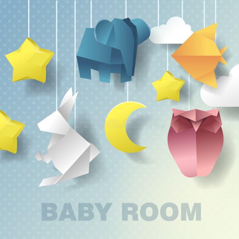 Décoration mobile de pièce de bébé Invitation de fête de naissance Illustration coupée par papier illustration libre de droits