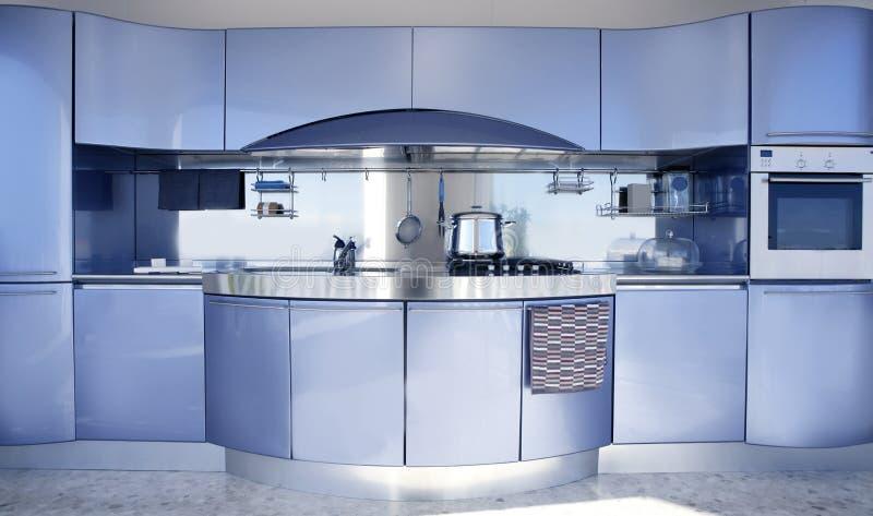 Décoration moderne d'architecture de cuisine argentée bleue photo stock