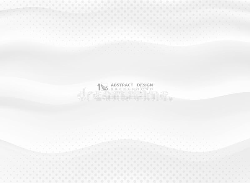 D?coration onduleuse blanche de conception de gradient abstrait de vecteur avec le mod?le tram? Vecteur eps10 d'illustration illustration libre de droits