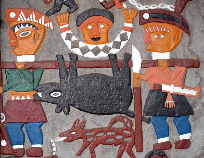Décoration peinte indigène de mur photos stock