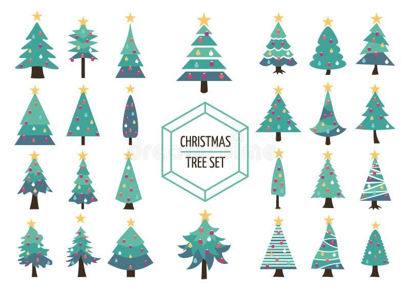 Décoration réglée de vacances d'icône de pin de Noël illustration libre de droits