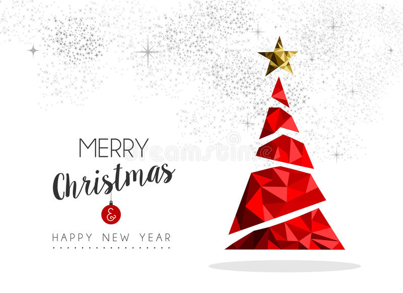 Décoration rouge d'arbre de Noël pour la carte de voeux illustration libre de droits