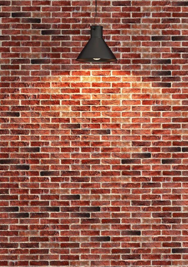 Download Décoration Rouge De Mur De Briques Sous Le Rendu De Lumière De  Tache Illustration Stock