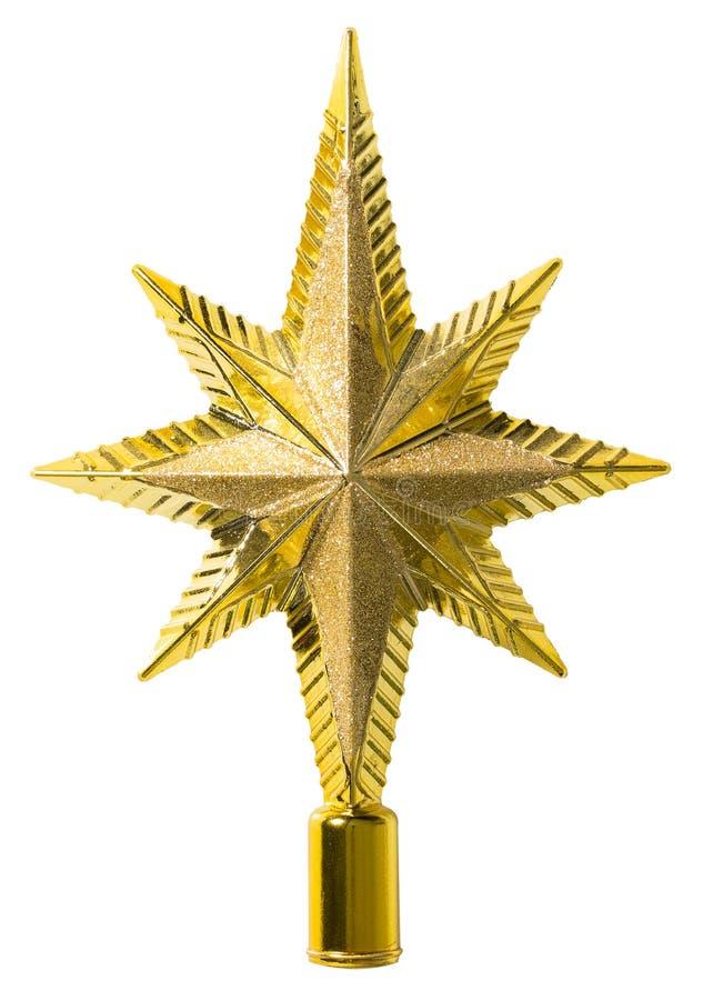 Décoration supérieure d'étoile, arbre de Noël Topper, blanc d'isolement images libres de droits