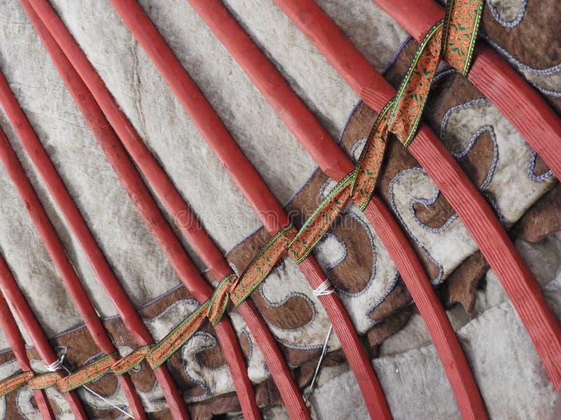 Décoration traditionnelle nationale du plafond et des murs du Yurt mongol Modèles d'armure de cru La décoration du Yurt photo stock