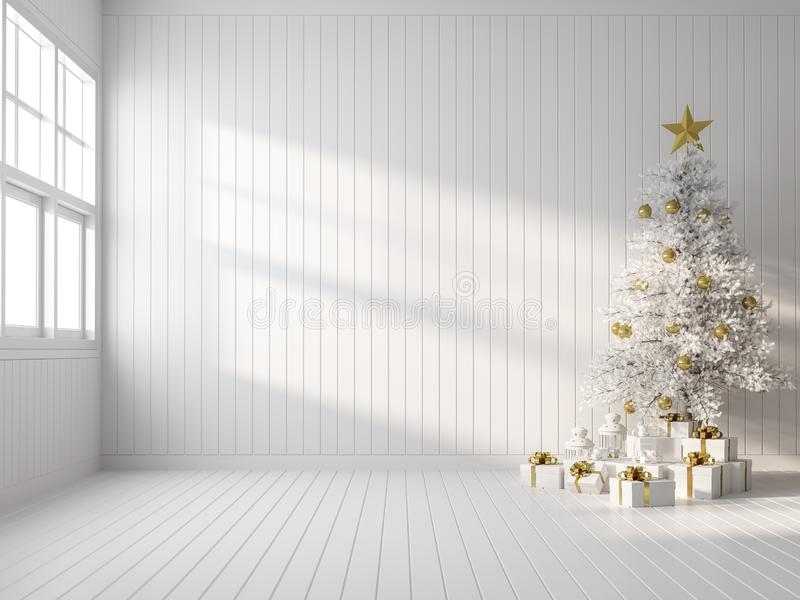 Décoration vide de la salle blanche avec rendu 3d blanc de l'arbre de Noël illustration de vecteur