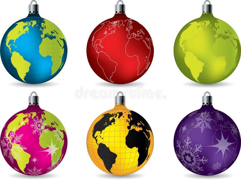 Décorations brillantes de Noël avec la carte du monde illustration libre de droits