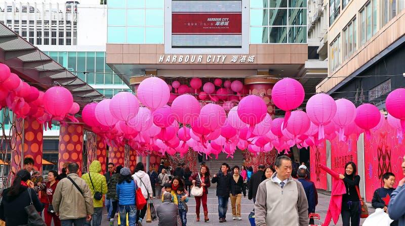 Décorations chinoises de nouvelle année de ville de port photographie stock libre de droits