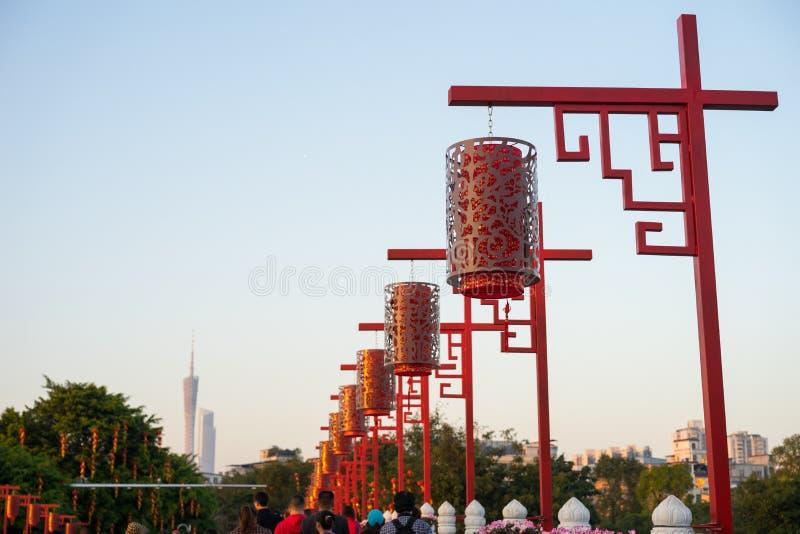 Décorations chinoises de nouvelle année en parc images libres de droits