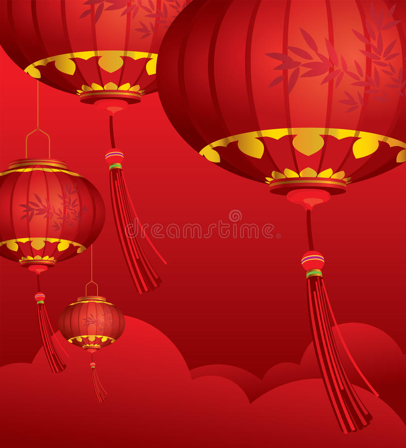 Décorations chinoises ROUGES de lanternes illustration libre de droits