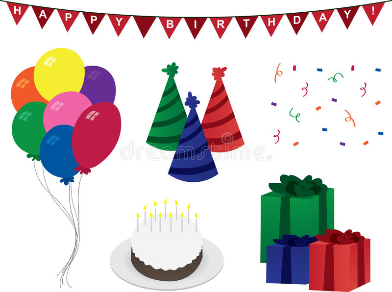 Décorations d'anniversaire illustration libre de droits