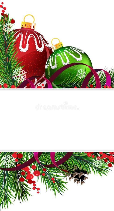 Décorations d'arbre de Noël avec le ruban pourpre illustration stock