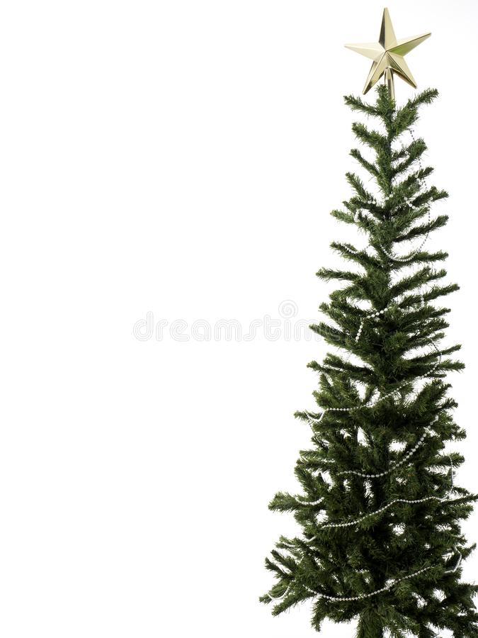 Décorations d'arbre de Noël sur un fond blanc Plan rapproché images stock