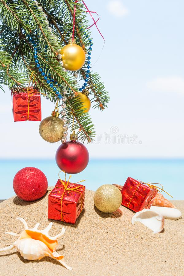 Décorations d'arbres de Noël sur la plage tropicale Concept de vacances de la nouvelle année dans les pays chauds photo stock
