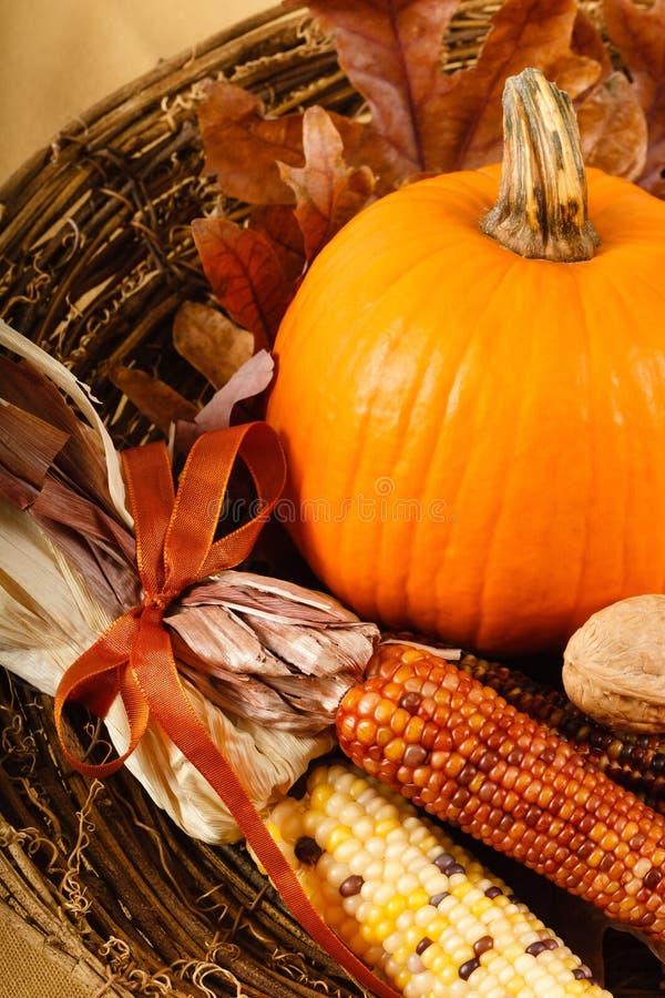 Décorations d'automne avec le potiron et le maïs image stock