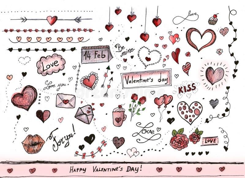 Décorations de jour de valentines illustration de vecteur
